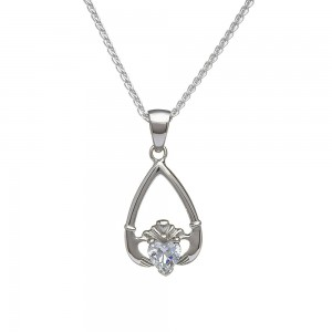 April Cubic Zirconia Birthstone Claddagh Pendant
