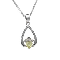 August Peridot Birthstone Claddagh Pendant