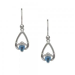 December Blue Topaz Birthstone Claddagh Earring