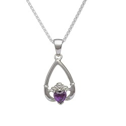 February Amethyst Birthstone Claddagh Pendant