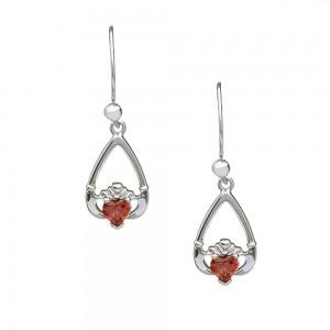 January Garnet Birthstone Claddagh Earring