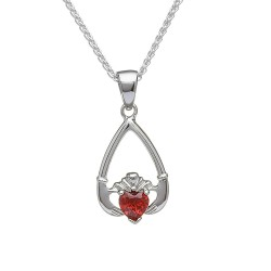January Garnet Birthstone Claddagh Pendant