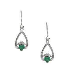 May Emerald Birthstone Claddagh Earring