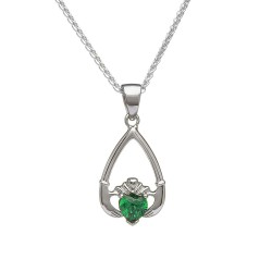 May Emerald Birthstone Claddagh Pendant