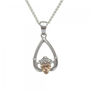 November Citrine Birthstone Claddagh Pendant