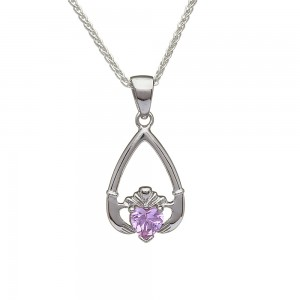 October Pink Tourmaline Birthstone Claddagh Pendant