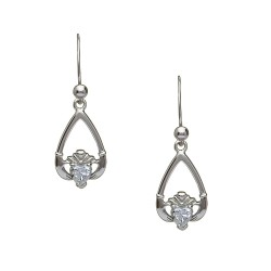 April Cubic Zirconia Birthstone Claddagh Earring