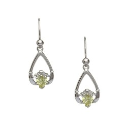 August Peridot Birthstone Claddagh Earring