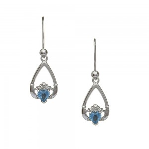 December Blue Topaz Birthstone Claddagh Earring