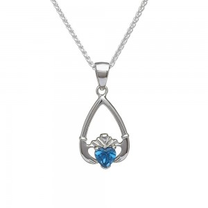 December Blue Topaz Birthstone Claddagh Pendant