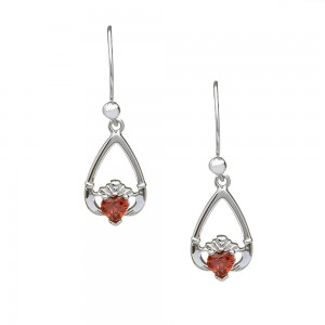 January Garnet Birthstone Claddagh Earring