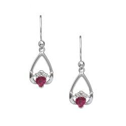 July Ruby Birthstone Claddagh Earring