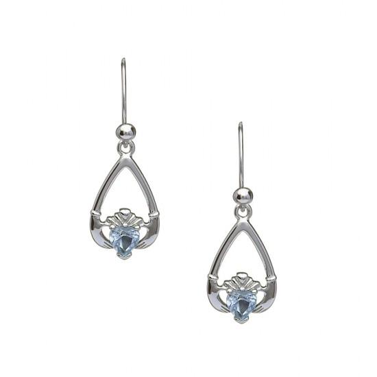 March Aquamarine Birthstone Claddagh Earring