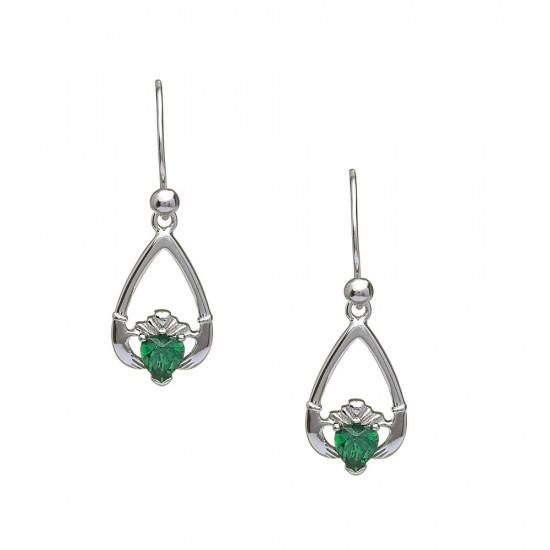 May Emerald Birthstone Claddagh Earring