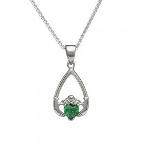 May Emerald Birthstone Claddagh Pendant