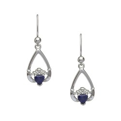 September Blue Sapphire Birthstone Claddagh Earring