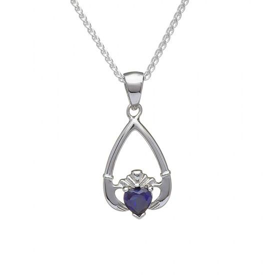 September Blue Sapphire Birthstone Claddagh Pendant