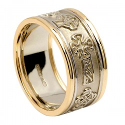 Gold Celtic Cross Ring with Yellow Gold Trim