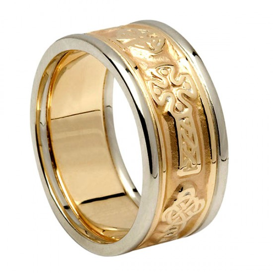 Gold Celtic Cross Ring with White Gold Trim
