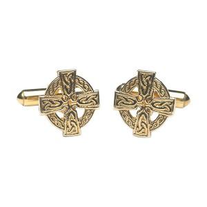 10K Gold Celtic Cross Cuff Links