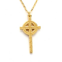 Gold Ogham Medium Old St.Pat's Chicago Cross