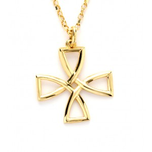 Gold Ogham Cross