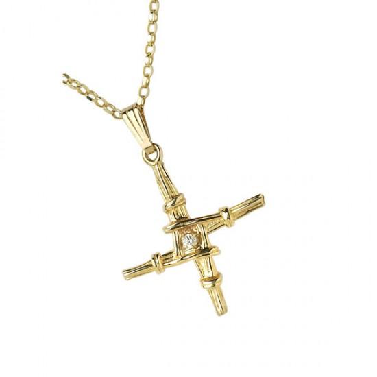 Small Gold with Diamond Saint Bridgets Cross
