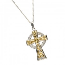 Sterling Silver and 18K Gold Cross