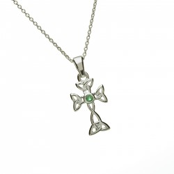 Silver Celtic and Emerald Cross