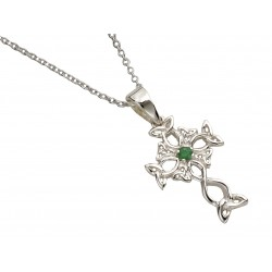 Silver Celtic Design Cross with Emerald Center