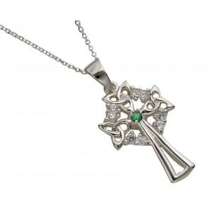 Silver Celtic Design and Emerald Cross