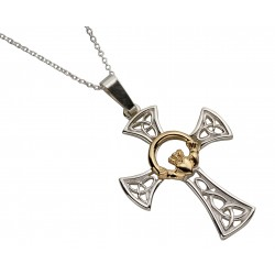 Silver Celtic Cross with Round 10K Gold Center