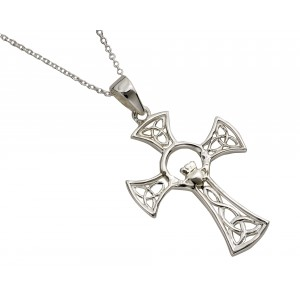 Silver Celtic Cross with Round Claddagh Center