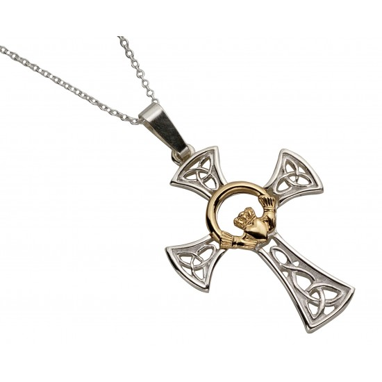 Silver Celtic Cross with Round Gold Center