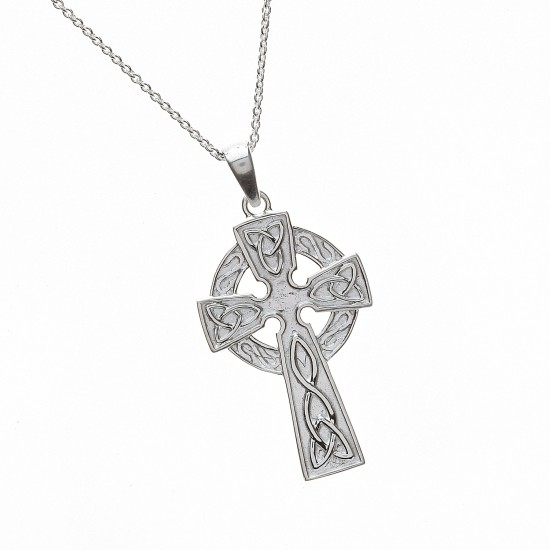 Silver Classic Celtic Cross with Carved Detail