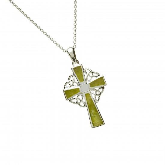 Silver Connemara Marble Celtic Cross