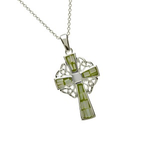 Silver Green Mosaic Celtic Cross