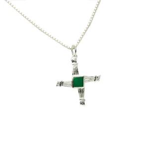 Silver Saint Bridgets Pendant with Green Agate