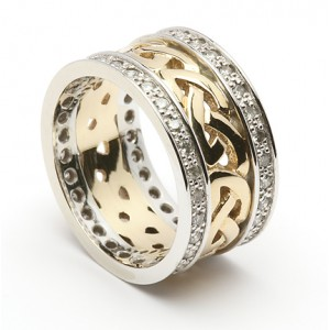 Gold Celtic Knot Wedding Ring with Diamond Set Trims