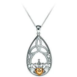 Silver Claddagh and Trinity Tear Drop Cubic Zirconia Pendant