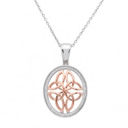 Silver Round Two Tone Rose Gold Celtic Knot Pendant set in Cubic Zirconia