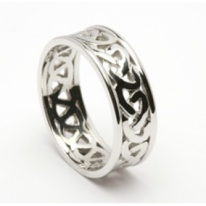 Silver Open Celtic Knot Wedding Band with Trims