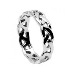 Silver Open Celtic Knot Wedding Band