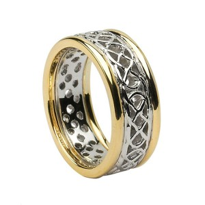 Open Celtic Knot Ring with Yellow Gold Trim
