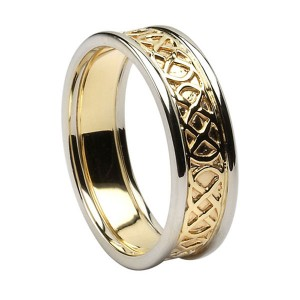 Yellow Gold Pierced Celtic Knot Wedding Ring with White Gold Trim
