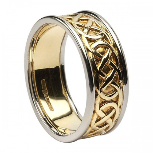 yellow gold pierced celtic knot wedding ring with white gold trim - Celtic Knot Wedding Rings