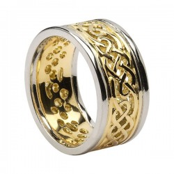 Gold Round Celtic Knot Wedding Ring with White Gold Trim