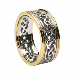 Gold Round Celtic Knot Wedding Ring with Yellow Gold Trim