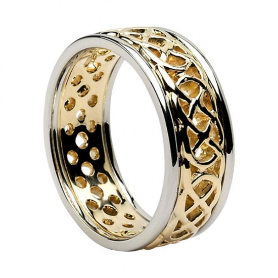 Open Celtic Knot Ring with White Gold Trim