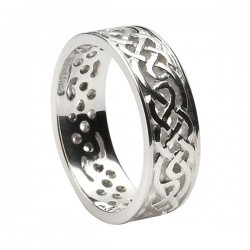 Silver Spiral Celtic Knot Wedding Ring